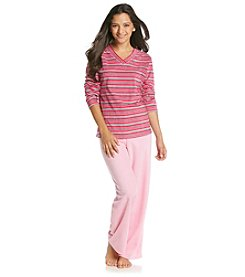 Intimate Essentials® Microfleece Pajama Set - Pink/Gray Stripe