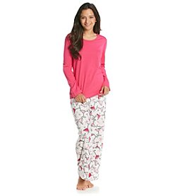 Intimate Essentials® Knit/Fleece Pajama Set - Pink Martini Time