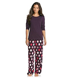 Intimate Essentials® Knit/Fleece Pajama Set - Purple Owls