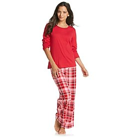 Intimate Essentials® Knit/Fleece Pajama Set - Red/Pink Plaid