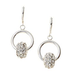 Nine West® Silvertone Leverback Drop Earrings with Simulated Crystal Roundel