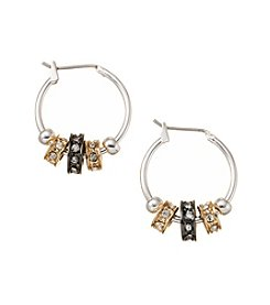 Nine West® Tri-Tone Small Slider Earrings with Simulated Crystal Stones