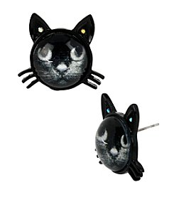 Betsey Johnson® Black Cat Stud Earrings