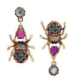 Betsey Johnson® Pink Spider Mismatch Drop Earrings