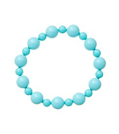 Genuine Dyed Turquoise Color Mother of Pearl Shell Bead Stretch Bracelet