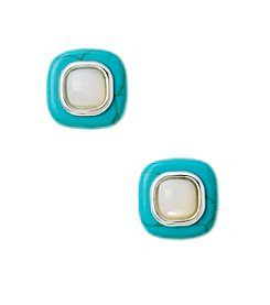 Genuine Dyed Turquoise & Genuine Mother of Pearl Square Earrings in Sterling Silver