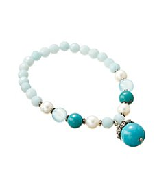 Genuine Dyed Turquoise, Amazonite & Freshwater Pearl Stretch Bracelet with Sterling Silver Accents