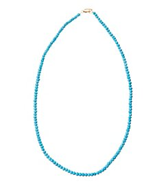 Genuine Dyed Turquoise Faceted Rondelle Necklace with Gold Plated Sterling Silver Clasp