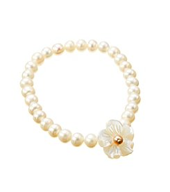 Genuine Freshwater Pearl with Shell Flower Stretch Bracelet