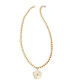 Genuine White Freshwater Pearl with Shell Flower Necklace with Sterling Silver Clasp