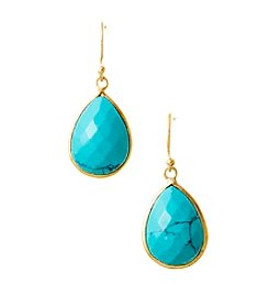 Genuine Dyed Turquoise Teardrop Bezel Earrings with Gold Plated Sterling Silver