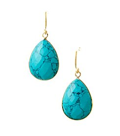 Genuine Dyed Turquoise Large Teardrop Bezel Earrings with Gold Plated Sterling Silver