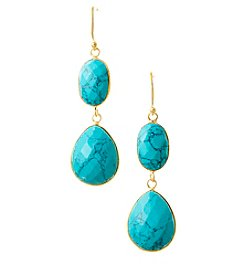 Genuine Dyed Turquoise Oval and Teardrop Shape Long Bezel Earrings with Gold Plated Sterling Silver