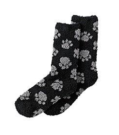 Relativity® Black/Gray Paw Print Slipper Socks