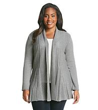 Notations® Plus Size Shawl Collar Textured Stitch Cardigan Sweater