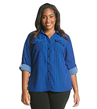 Notations® Plus Size Stripe Roll Sleeve Blouse
