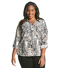 Notations® Plus Size Allover Print Blouse
