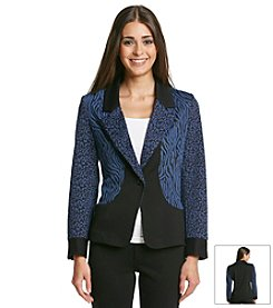 Notations® Petites' Print And Solid Knit Jacket