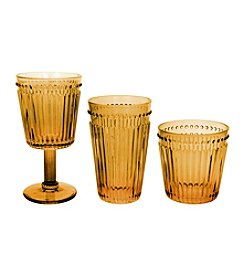Zrike Brands Set of 4 Amber Opulence Pressed Glass Collection