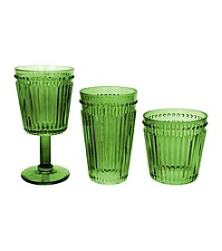 Zrike Brands Set of 4 Green Opulence Pressed Glass Collection