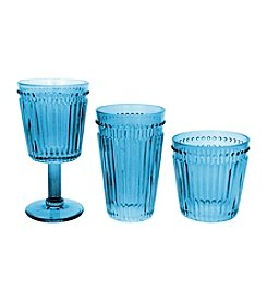 Zrike Brands Set of 4 Blue Opulence Pressed Glass Collection