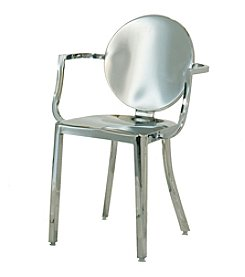 Innerspace® Dalton Home Collection Polished Stainless Steel Round Back Dining Height Chair Collection
