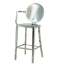 Innerspace® Dalton Home Collection Polished Stainless Steel Round Back Counter Height Stool with Right Arm