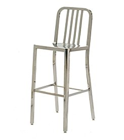 Innerspace® Dalton Home Collection Polished Stainless Steel Slatted Back Bar Height Stool