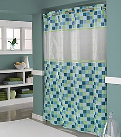 Hookless® Vision Mosaic Jade PEVA Shower Curtain