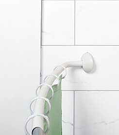 Zenna Home™ NeverRust White Curved Shower Rod