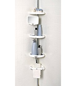 Zenna Home™ Chrome and White Tub and Shower Tension Pole Caddy