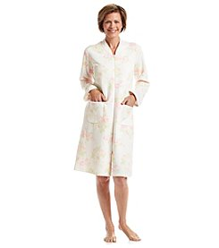 Miss Elaine® Short Knit Zip Robe - Pink Floral