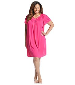 Miss Elaine® Plus Size Short Tricot Gown - Ruby