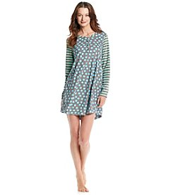 HUE® Fleece Sleepshirt - Dot/Aquarius Stripe Blue