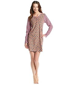 HUE® Fleece Sleepshirt - Dot/Stripe Mandarin