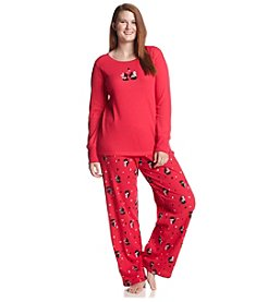 HUE® Plus Size Thermal Knit Pajama Set - Red Classy Scotties
