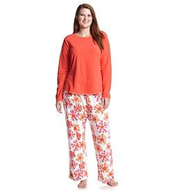 HUE® Plus Size Fleece Pajama Set - Snowscape Red