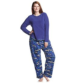 HUE® Plus Size Fleece Pajama Set