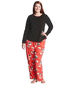 HUE® Plus Size Fleece Cat Pajama Set
