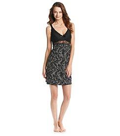 Chanteuse® Knit Print Lace Trim Chemise - Gray/Black Floral