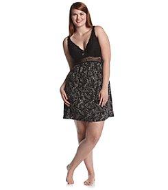 Chanteuse® Plus Size Knit Print Lace Trim Chemise - Gray/Black Floral