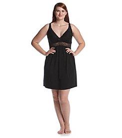 Chanteuse® Plus Size Knit Lace Trim Chemise - Jet Black