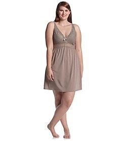 Chanteuse® Plus Size Knit Lace Trim Chemise - Ruff Slate
