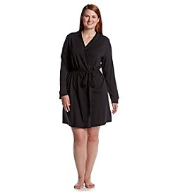 Chanteuse® Plus Size Knit Short Robe - Jet Black