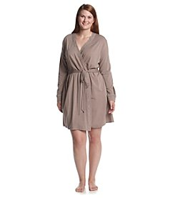 Chanteuse® Plus Size Knit Short Robe - Ruff Slate