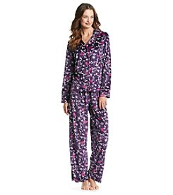 Jasmine Rose® Velour Pajama Set - Dark Mauve Swallows
