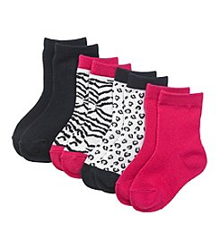 Miss Attitude Girls' Animal Print Crew Socks