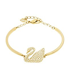 Swarovski® Goldtone Swan Bangle