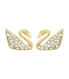 Swarovski® Swan Mini Goldtone/Clear Crystals Pierced Earrings