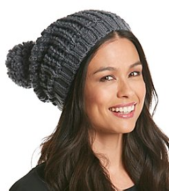 Collection 18 Bubble Stitch Slouch Pom Hat